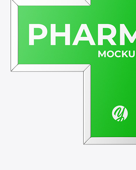 Pharmacy Signage w/ Metallic Frame Mockup