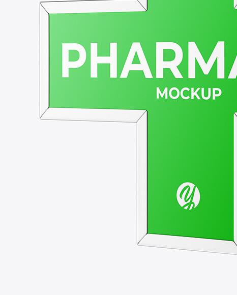 Pharmacy Signage w/ Metallic Frame Mockup