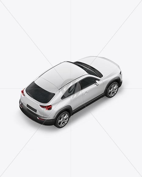 Compact Crossover SUV Mockup - Back Half Side View  (high angle shot)