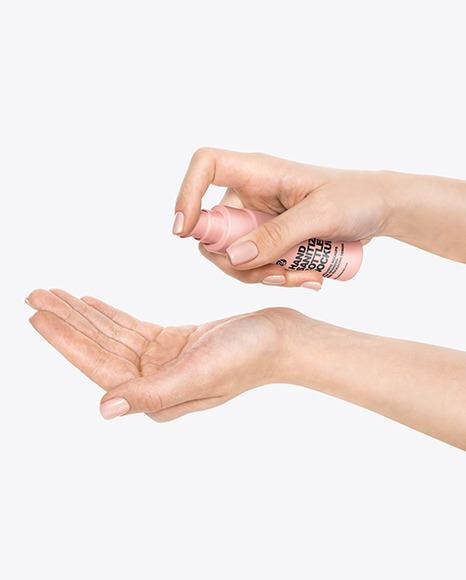 Hands w/ Sanitizer Bottle Mockup