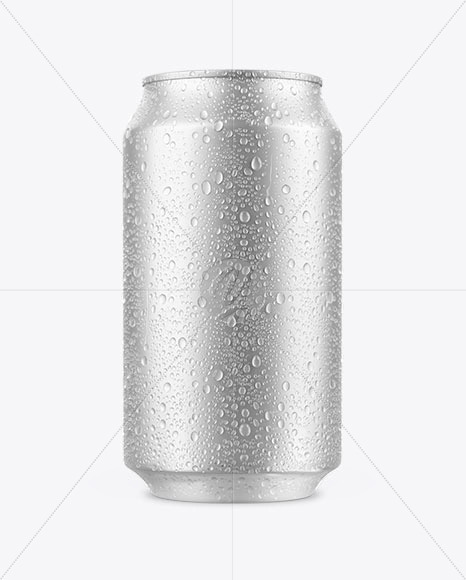 Can with Water Drops Mockup