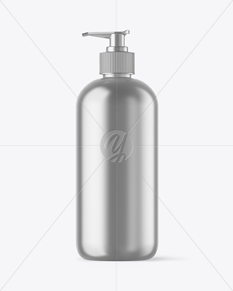 Download Metallic Bottle With Pump Mockup In Bottle Mockups On Yellow Images Object Mockups PSD Mockup Templates