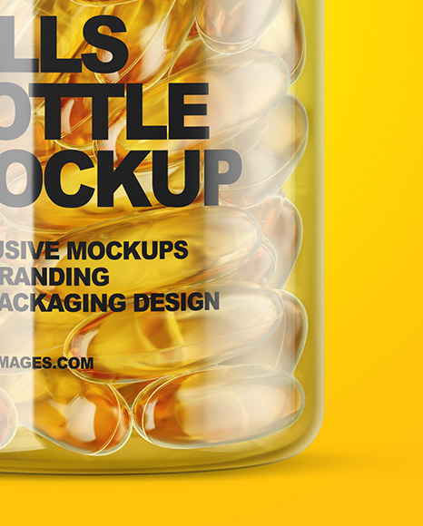 Clear Fish Oil Bottle Mockup