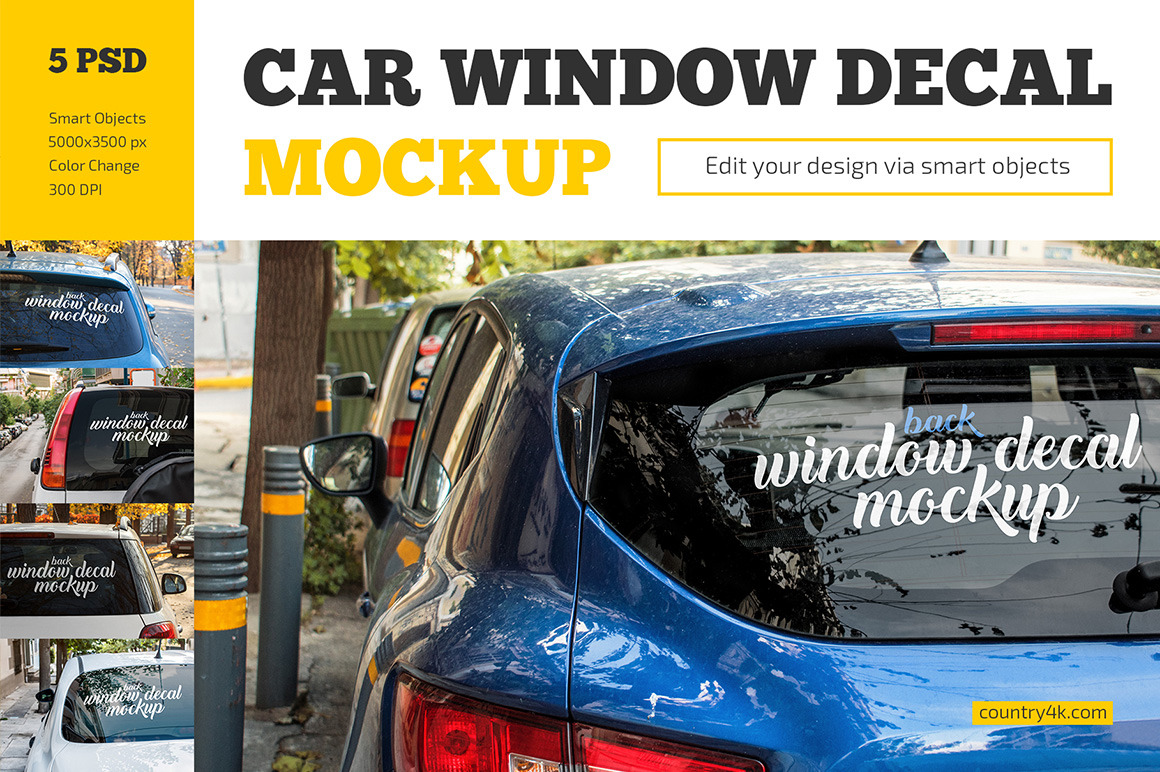 Car Window Decal Mockup Set