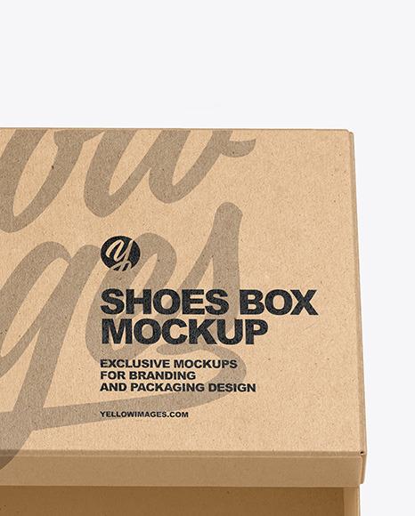 Kraft Shoes Box Mockup In Box Mockups On Yellow Images Object Mockups