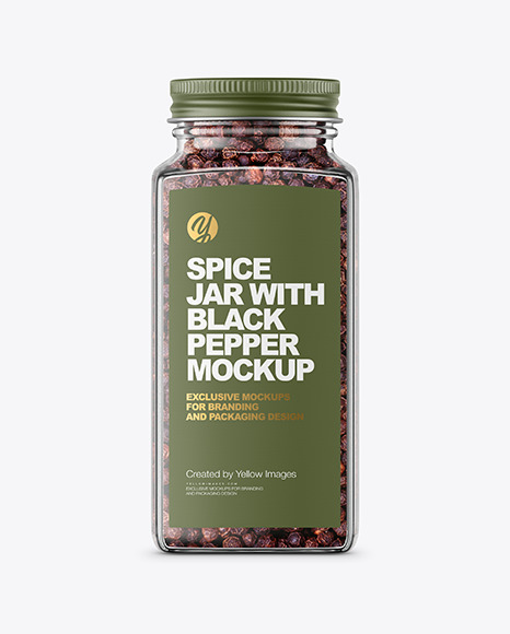 Spice Jar with Black Pepper Mockup