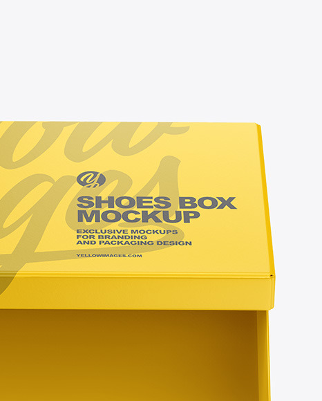 Matte Shoes Box Mockup In Box Mockups On Yellow Images Object Mockups