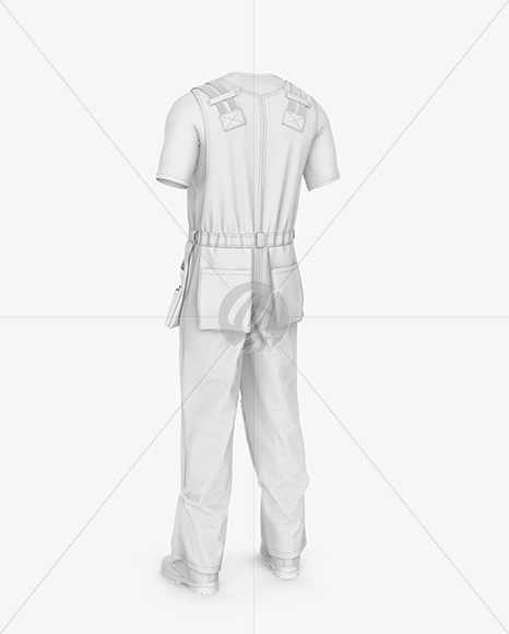 Working Overalls Mockup – Back Half Side View