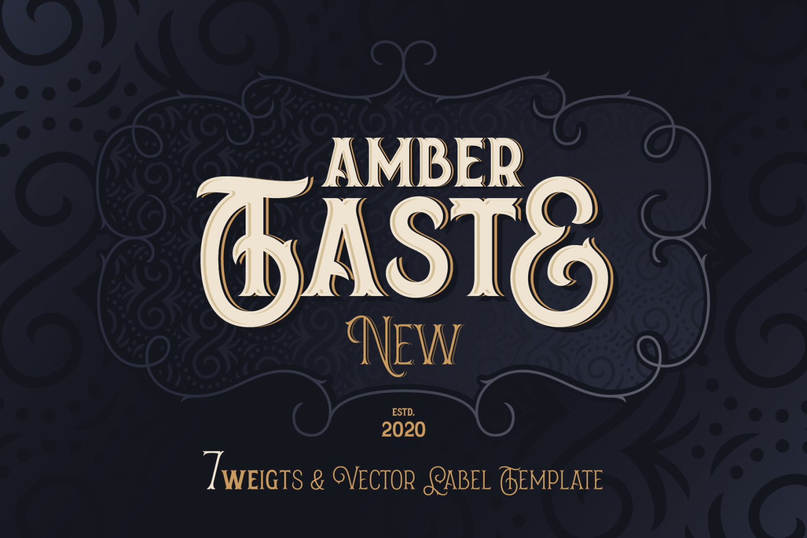 Amber Taste New. Font and Template.