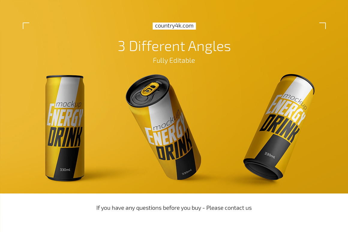 330ml Energy Drink Can Mockup Set