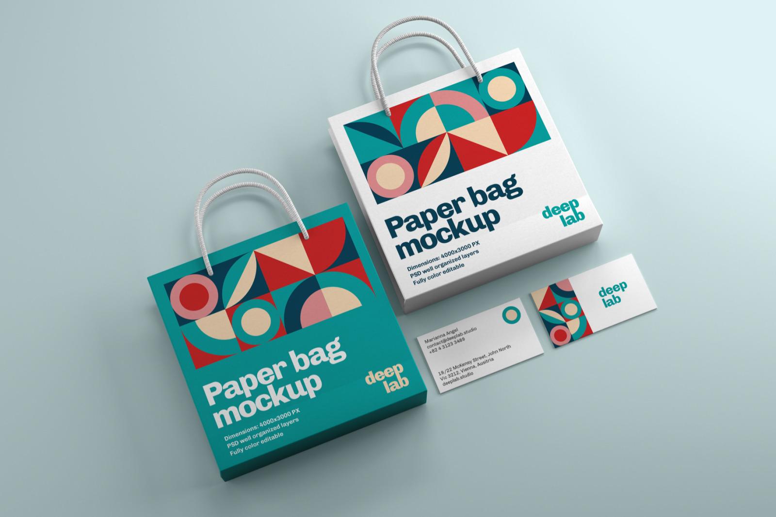 Paper Bag Business Card Branding Mockup Set In Stationery