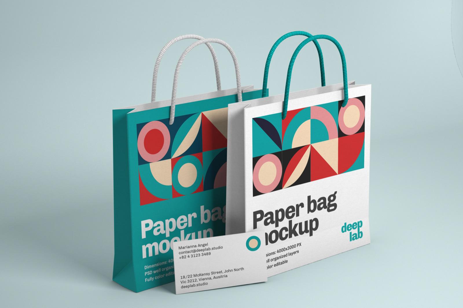 Paper Bag & Business Card Branding Mockup Set