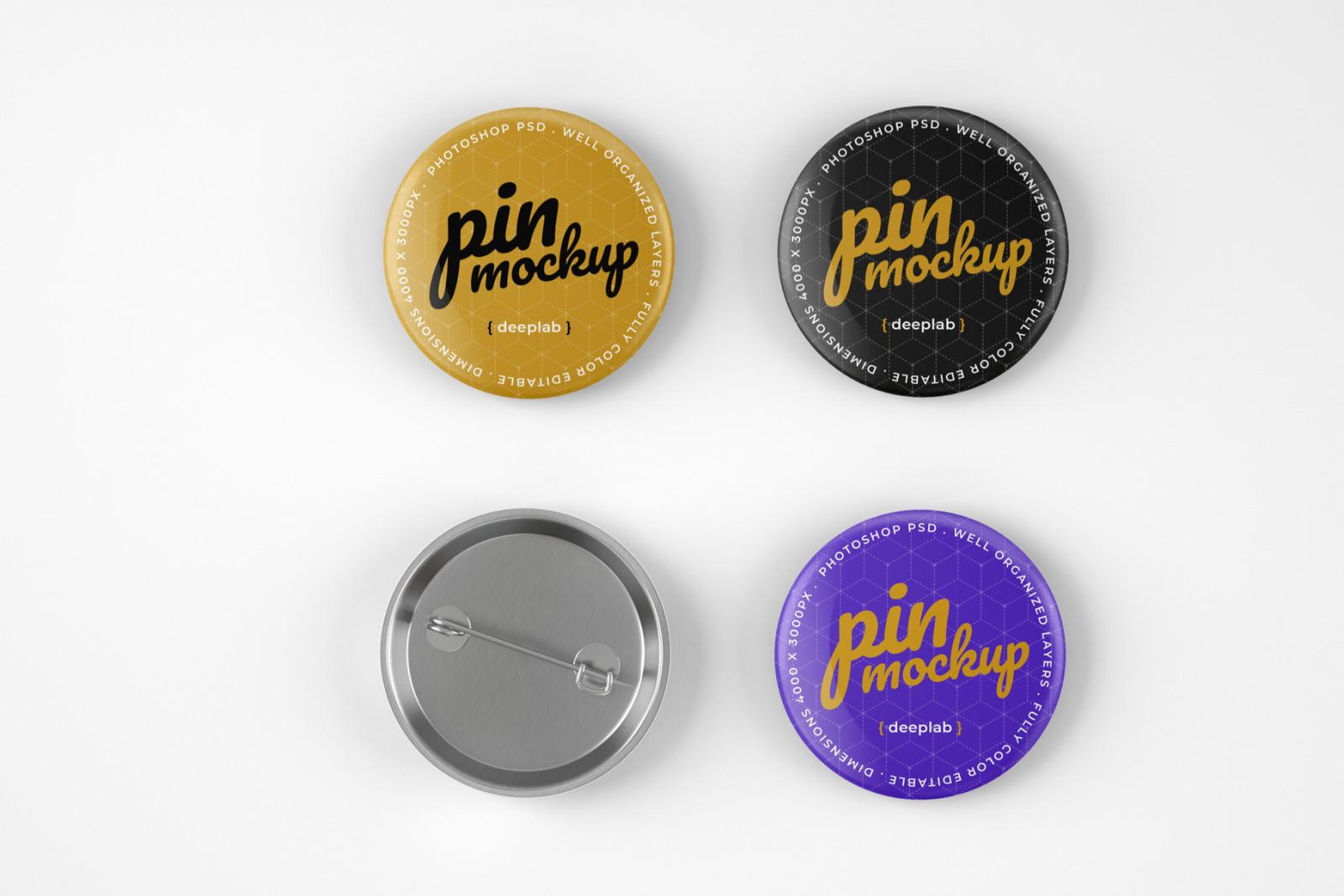 Glossy Button Pin Mockup Set