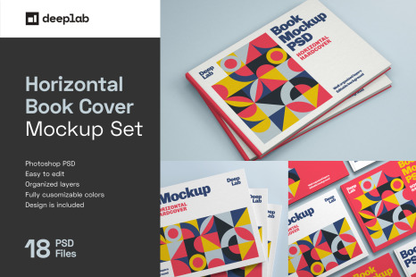 Download Book Cover Mockup Set In Product Mockups On Yellow Images Creative Store PSD Mockup Templates