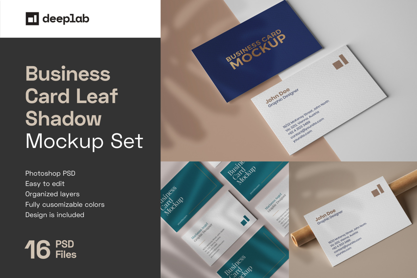 Business Card Mockup Set With Overlay Shadow In Stationery