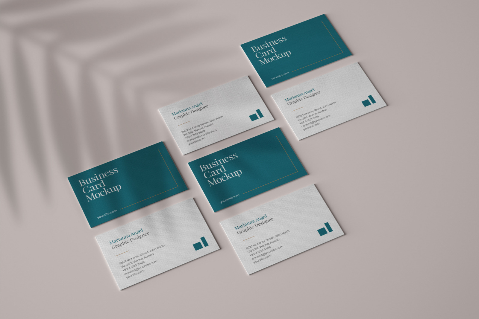 Business Card Mockup Set With Overlay Shadow