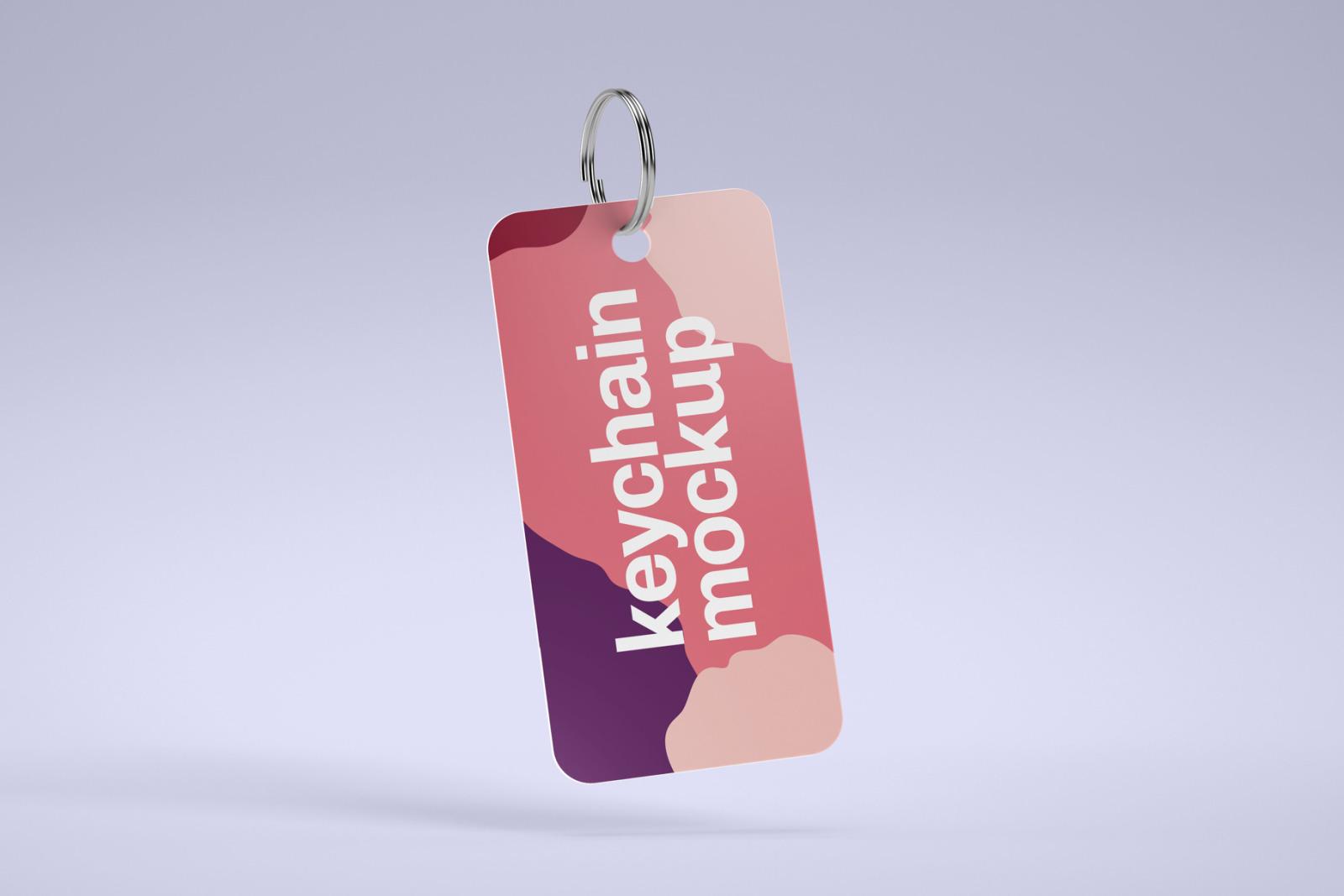 Silver & Card Keychain Mockup Set