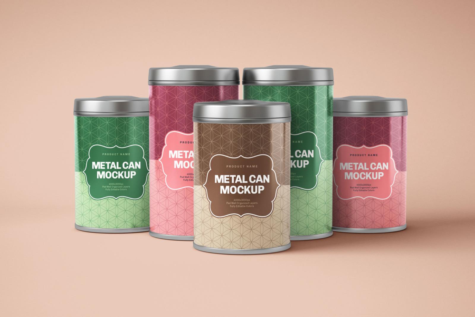 Glossy Round Tin Can Box Mockup Set