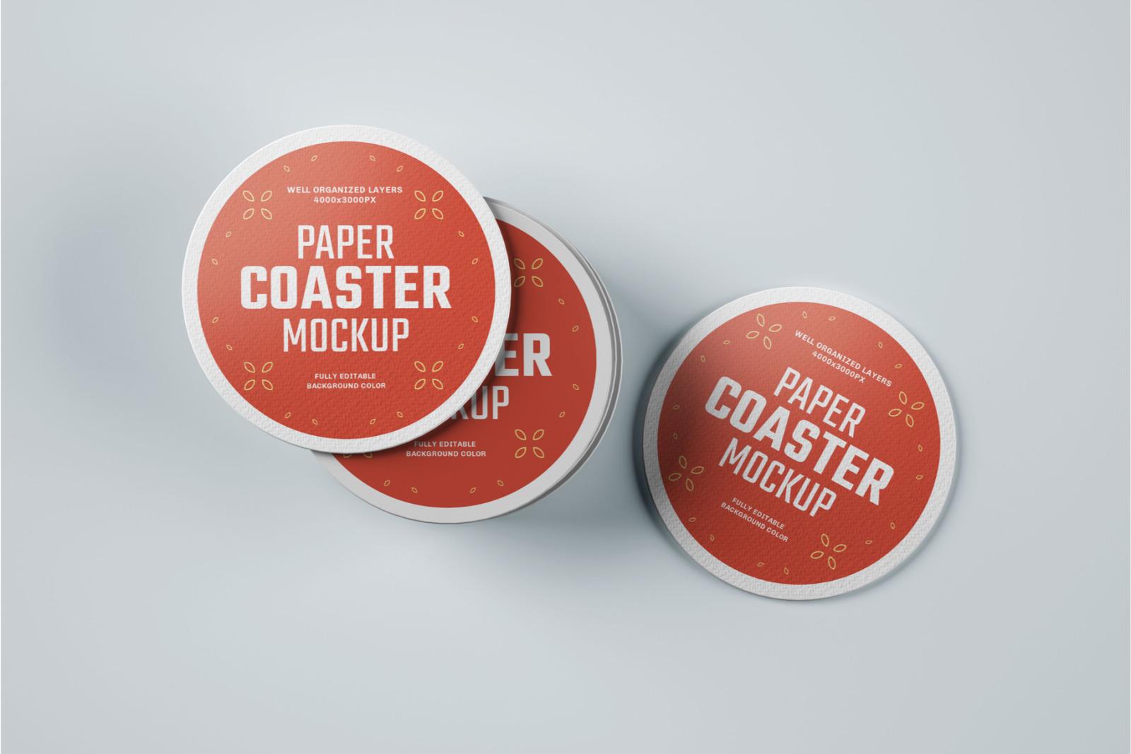 33 Paper Beverage Coaster Mockup Set
