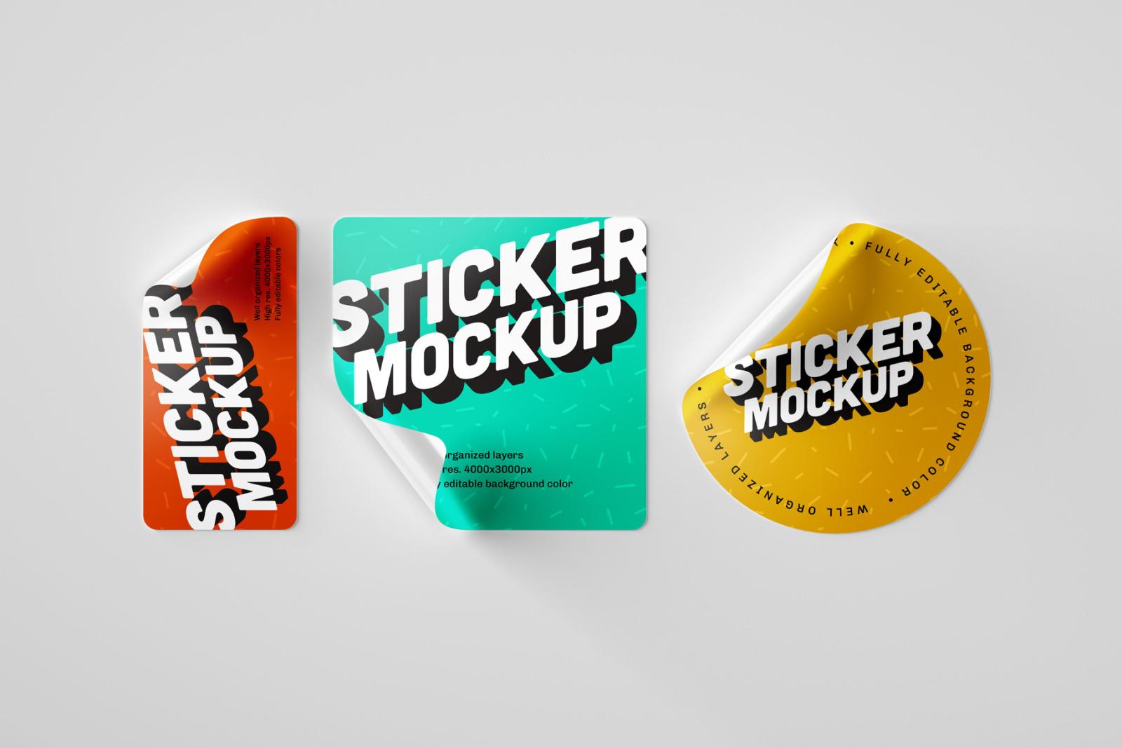 Sticker Mockup Set