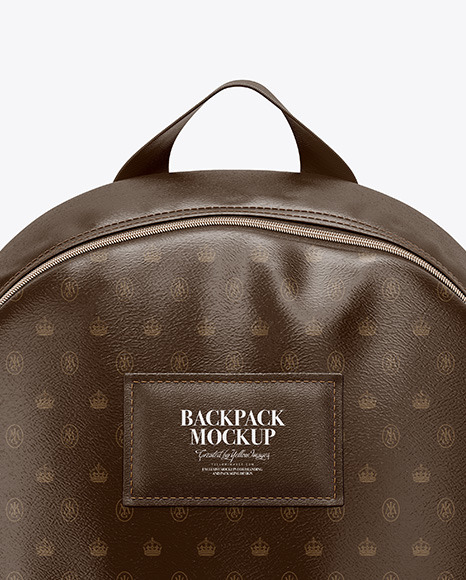 Leather Backpack Mockup - Front View