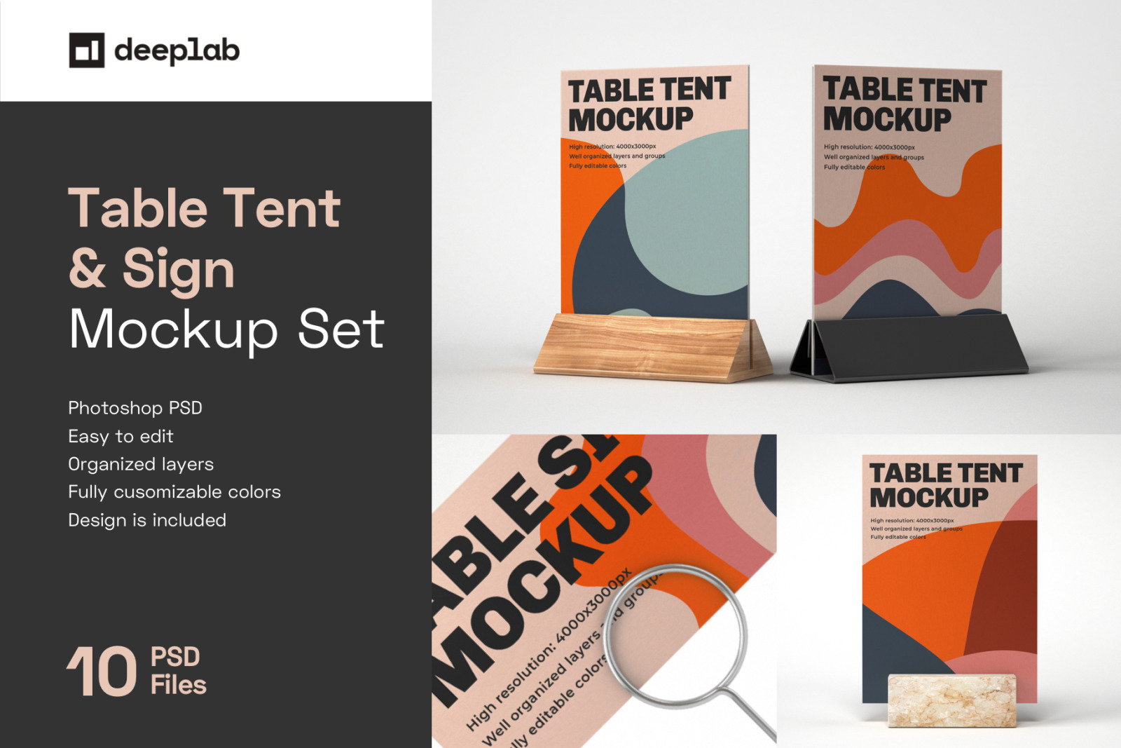 Download Table Tent And Sign Mockup Set In Indoor Advertising Mockups On Yellow Images Creative Store Yellowimages Mockups