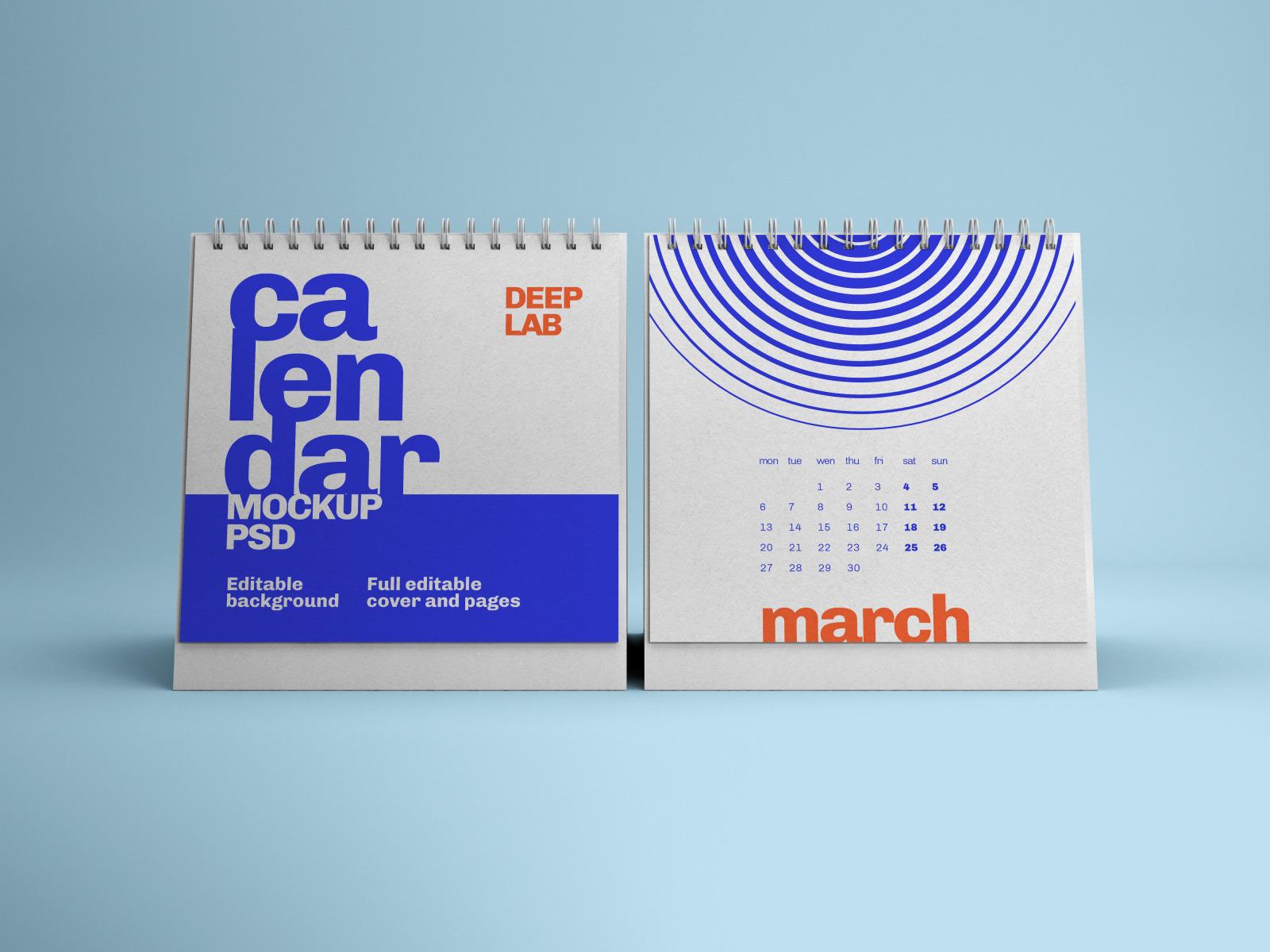 Vertical, Square, Horizontal Calendar Mockup Set