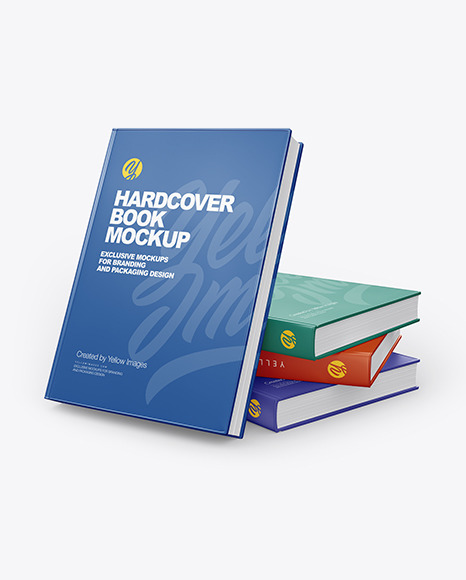 Hardcover Books W Glossy Cover Mockup In Stationery Mockups On