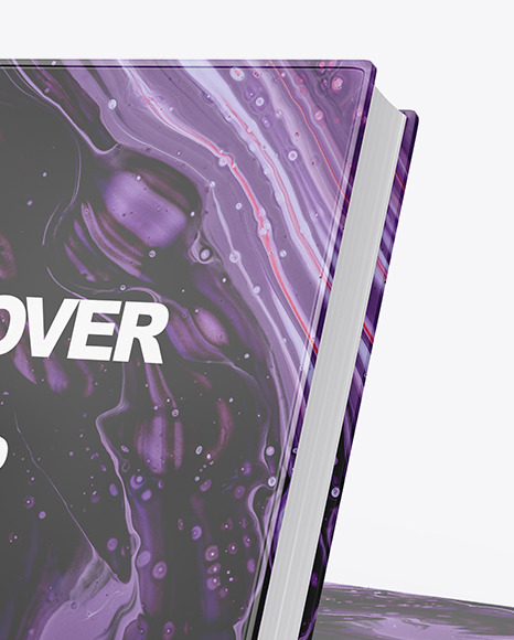 Hardcover Books w/ Glossy Cover Mockup