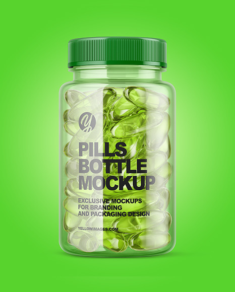 Download Clear Bottle With Soft Gel Capsules Mockup In Bottle Mockups On Yellow Images Object Mockups PSD Mockup Templates