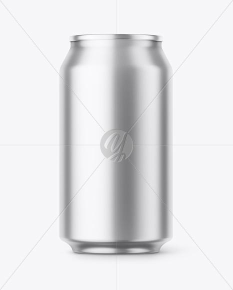 Metallic Aluminium Can Mockup - Front View