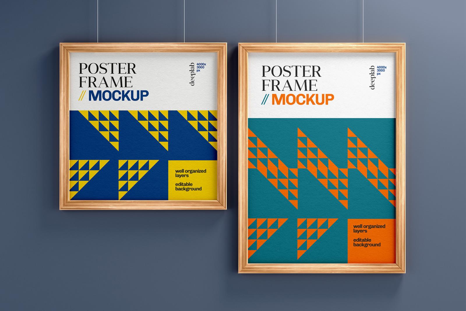 Wood Frame Poster Mockup Set