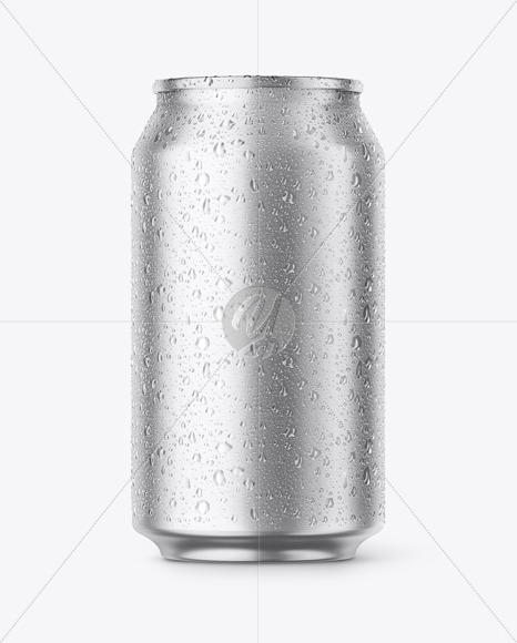 Metallic Aluminium Can with Drops Mockup - Front View