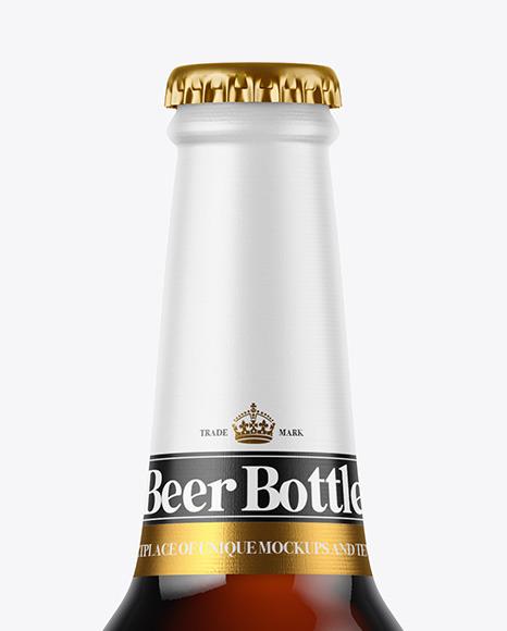 Dark Amber Glass Beer Bottle Mockup