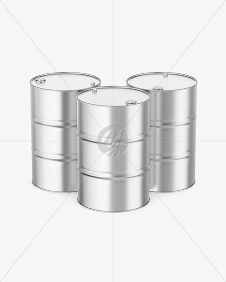 Metallic Oil Barrels Mockup