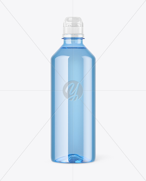 Blue PET Water Bottle Mockup