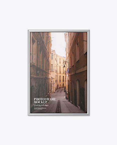 Poster With Metallic Frame Mockup