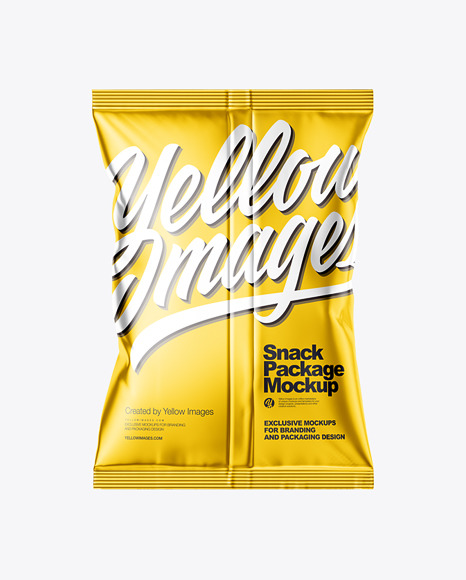 Download Metallic Snack Package Mockup Back View In Flow Pack Mockups On Yellow Images Object Mockups PSD Mockup Templates