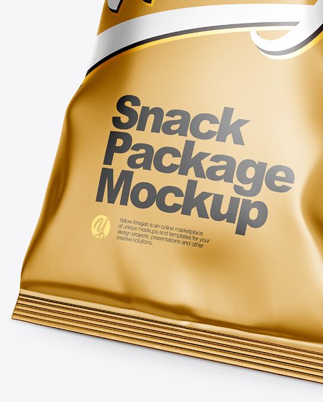 Download Metallic Snack Package Mockup Half Side View In Flow Pack Mockups On Yellow Images Object Mockups Yellowimages Mockups