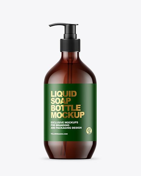 Amber Liquid Soap Bottle with Pump Mockup
