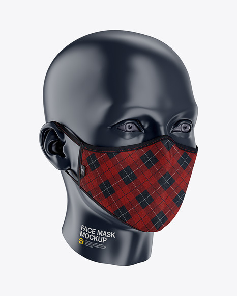 Face Mask Mockup - Front Half-Side View