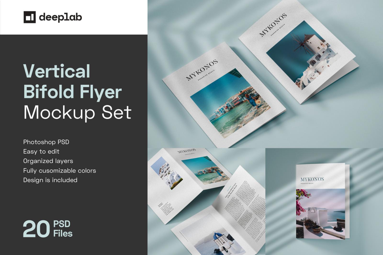 Vertical Bifold Flyer Mockup Set