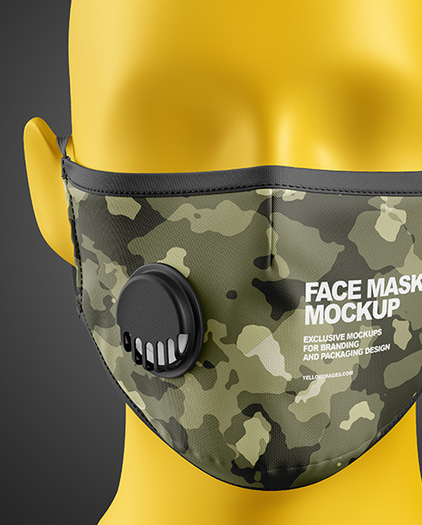 Download Anti Pollution Face Mask With Exhalation Valve Front View Yellowimages