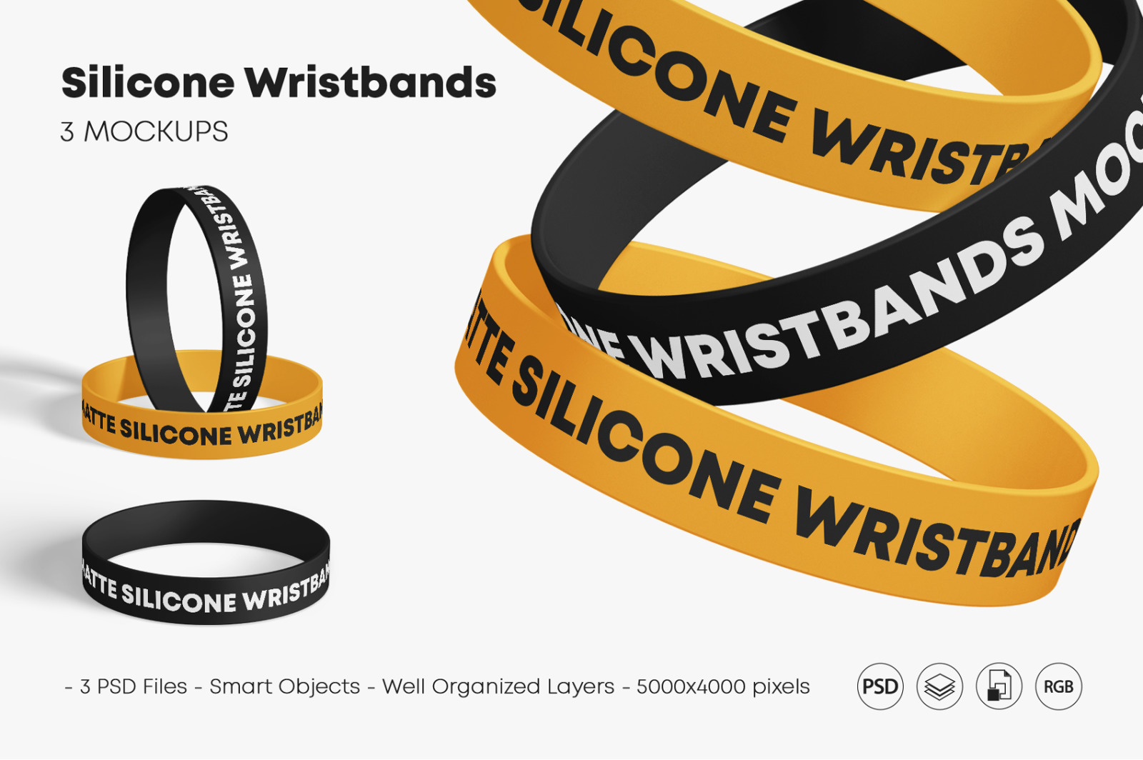 Matte Silicone Wristbands Mockup Set In Apparel Mockups On