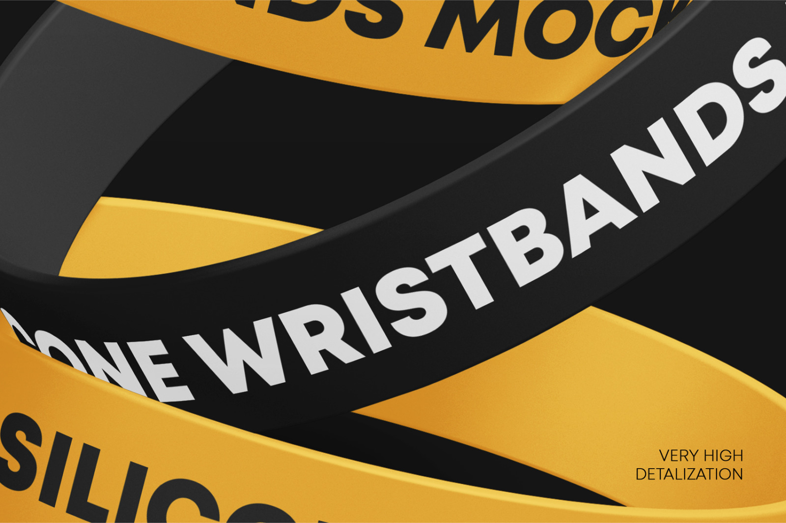 Matte Silicone Wristbands Mockup Set In Apparel Mockups On Yellow