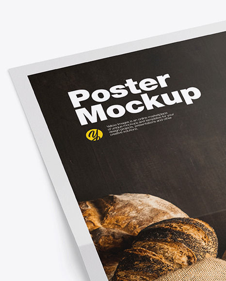 Poster Mockup In Stationery Mockups On Yellow Images Object Mockups