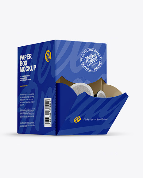 Paper Box With Coffee Capsules Mockup