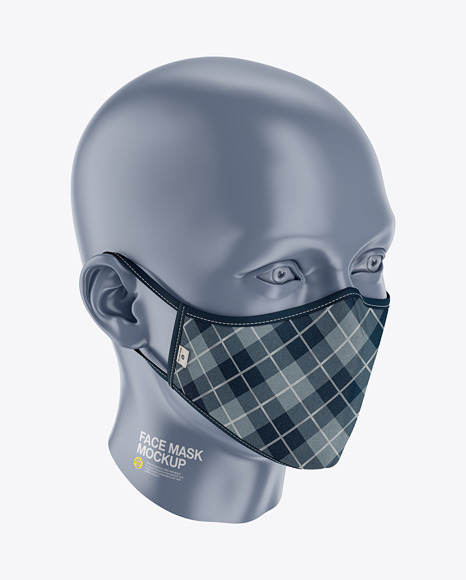 Face Mask Mockup - Front Half-Side View (High Angle)