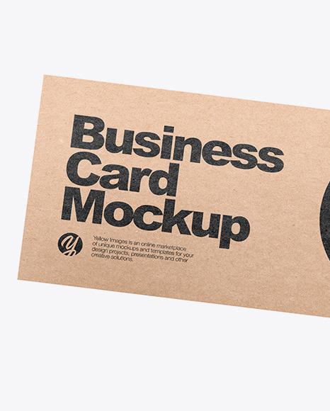 Two Kraft Business Cards Mockup
