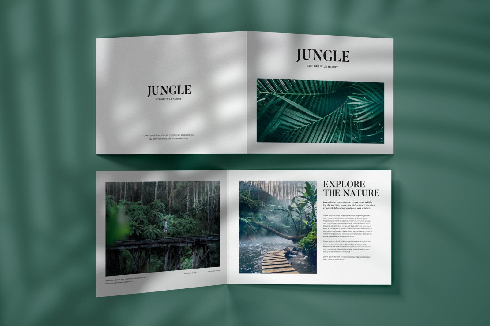 Horizontal Bifold Brochure Mockup Set